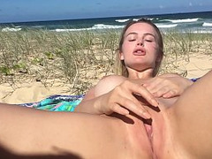 Beach, Blonde, Hot Wife, Masturbating, Outdoor, Real Cheating Wife, Perfect Body Teen